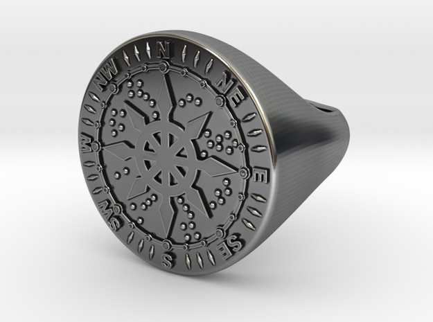 Compass Ring 18 mm in Antique Silver