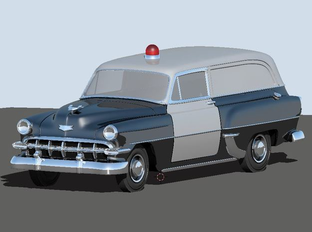 1954 Chevy Police Wagon (2) N Scale Vehicles in Smooth Fine Detail Plastic