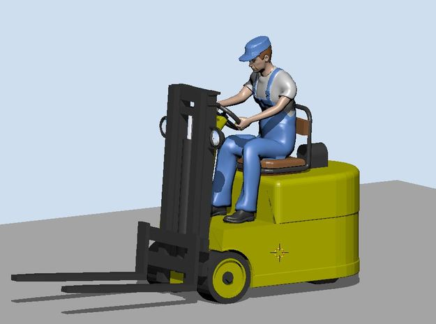 Fork lift with figure 1/72  in Smooth Fine Detail Plastic