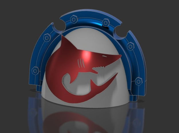12x Shoulderpads - Carcharodon shark - Templar - R in Smooth Fine Detail Plastic