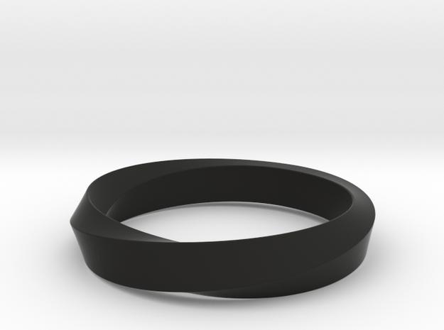 iRiffle Mobius Narrow Ring  I (Size 6.5) in Black Natural Versatile Plastic