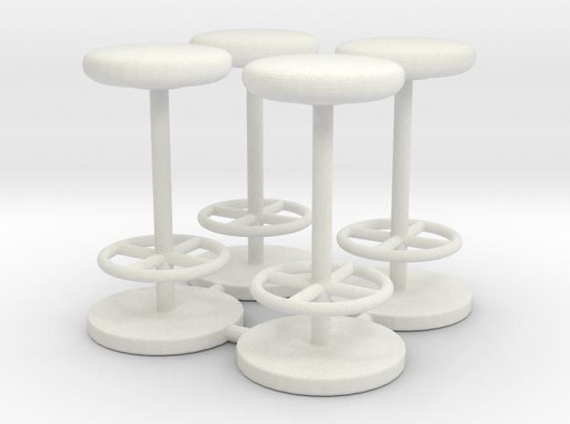 Stool 01. 1:24 Scale in White Natural Versatile Plastic