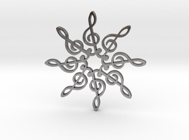 Treble Clef Snowflake Pendant 3d printed