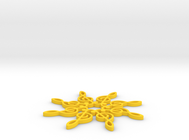 Treble Clef Snowflake Ornament 3d printed