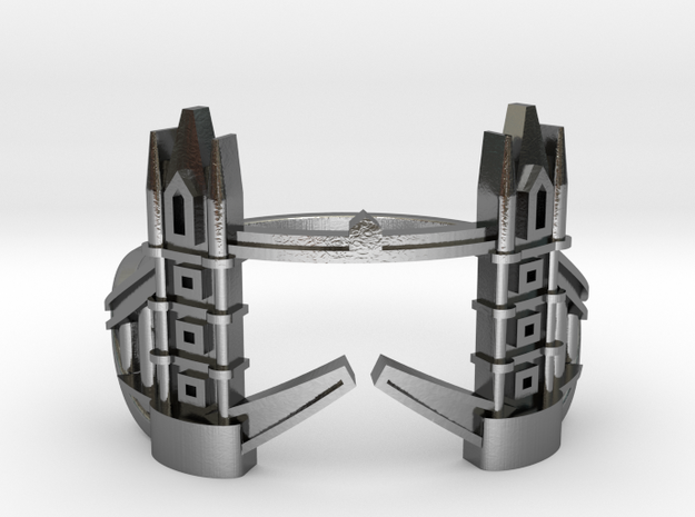 Tower Bridge Ring in Polished Silver: 6 / 51.5