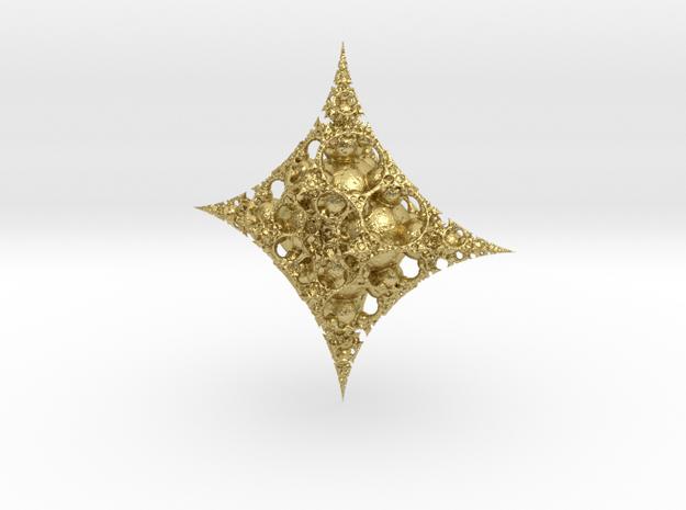 Mandelbulb fractal ornament in Natural Brass