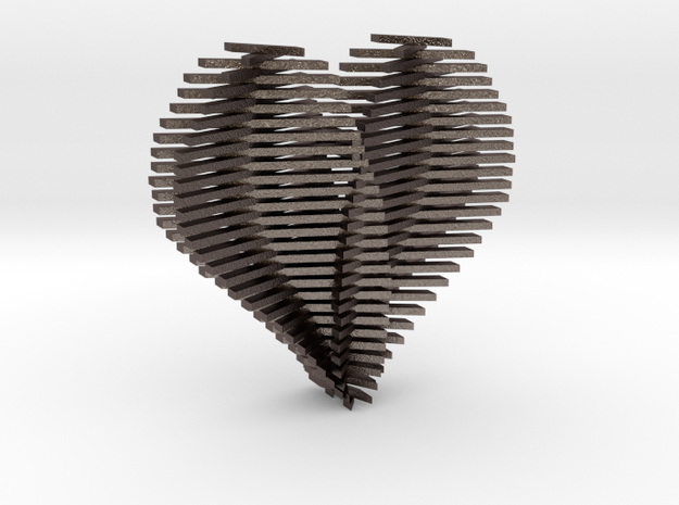 Heart Opening up in Polished Bronzed Silver Steel