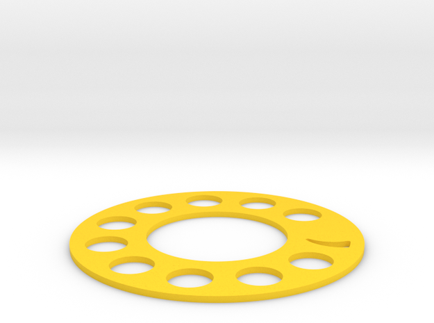 old telephone dial coaster in Yellow Processed Versatile Plastic