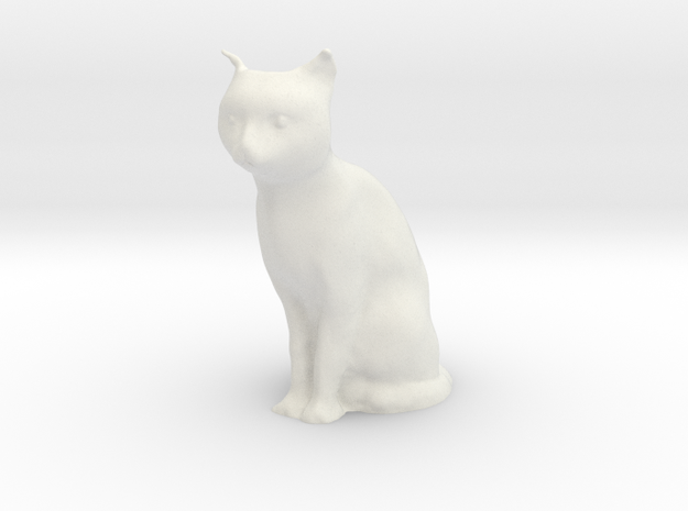 1/7 Sitting Cat in White Natural Versatile Plastic