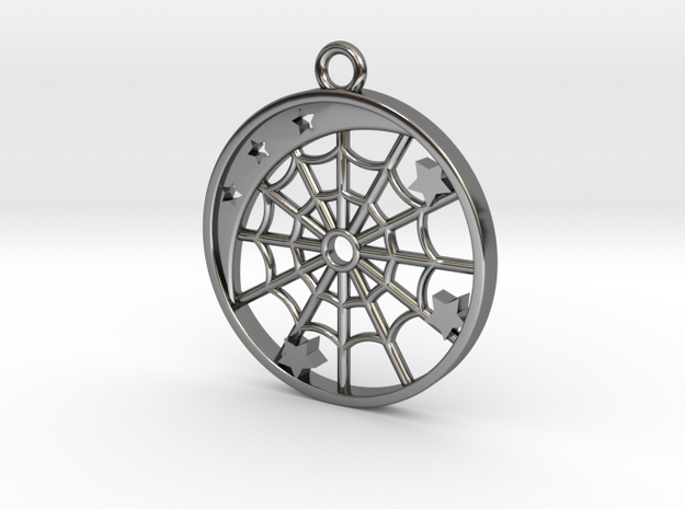 Moon, Stars and Spider Web Pendant in Fine Detail Polished Silver