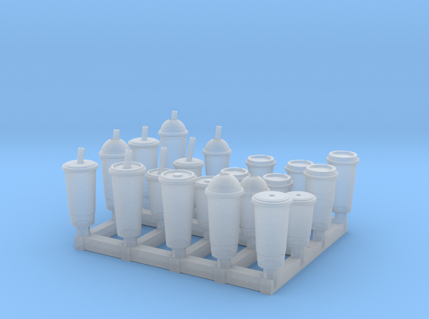 Coffee and Soda Cups 1/24 scale in Smooth Fine Detail Plastic: 1:24