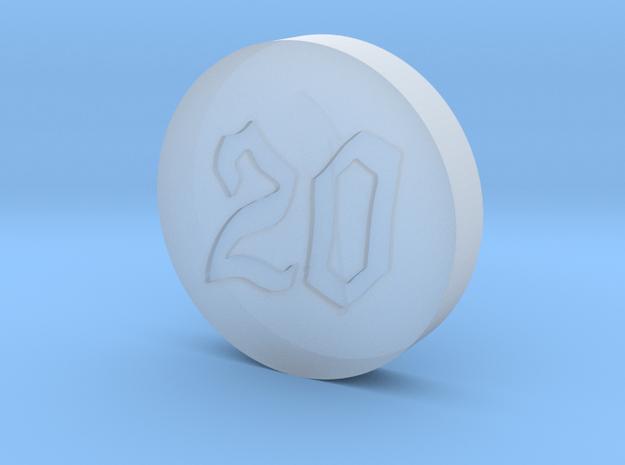Elizabeths Dice Font 6 Coin in Smoothest Fine Detail Plastic