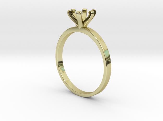 Plain Size 6 Ring - 6mm Gem - 6 prong v3 in 18k Gold