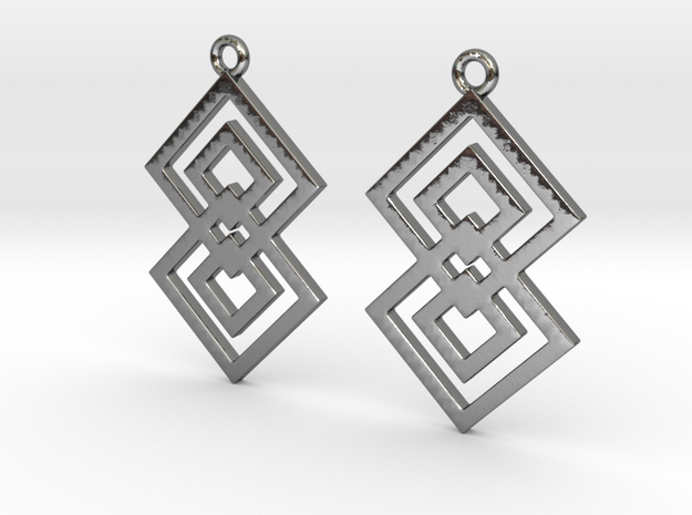 Squares earrings in Polished Silver