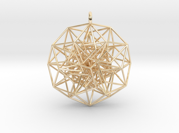 6D Cube Toroidal form - 50x1mm - 64 vertex pendant in 14k Gold Plated Brass