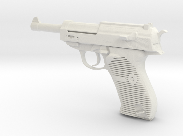 1/6 Scale Walthers P38 Pistol in White Natural Versatile Plastic