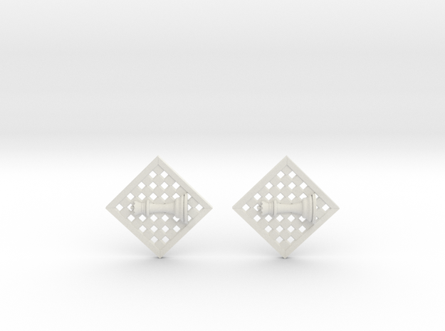 Chess Earrings - Queen in White Natural Versatile Plastic