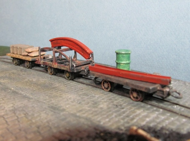 009 Colliery Utility Wagons X3 in White Natural Versatile Plastic