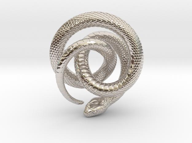 Snake Pendant_P01 in Rhodium Plated Brass