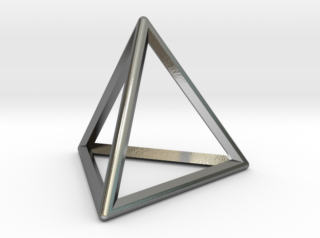 Wireframe Polyhedral Charm D4/Tetrahedron in Polished Silver