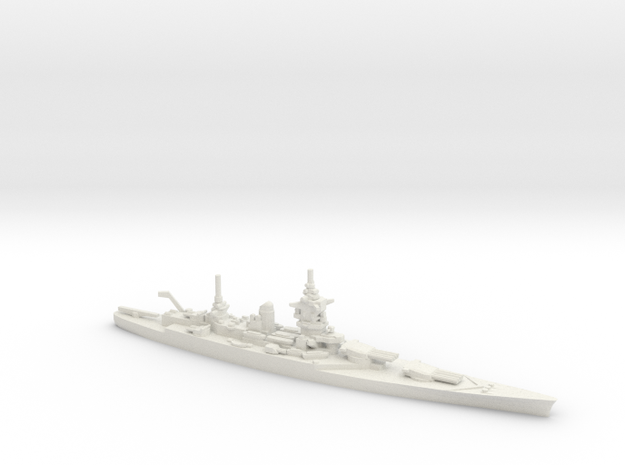 French Dunkerque-Class Battleship in White Natural Versatile Plastic: 1:1800