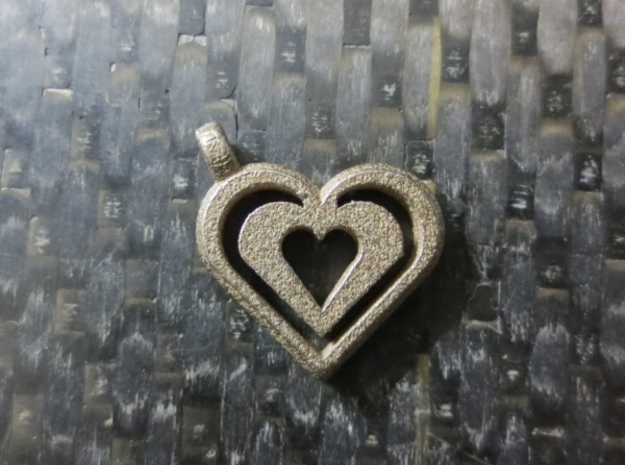 Enjoined Hearts Pendant in Polished Bronzed Silver Steel