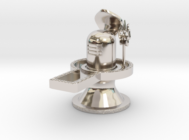 Lord Shiva Lingam Free 3D Model STL-KtkaRaj in Rhodium Plated Brass