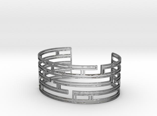Maze Strings Bracelet in Polished Silver