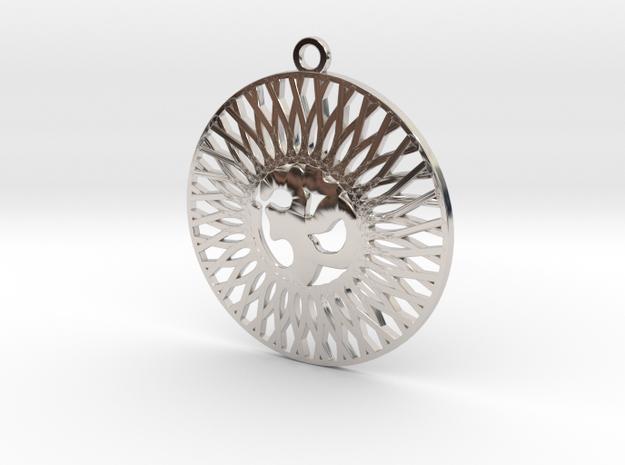 Fancy Pendant   Om  in Rhodium Plated Brass