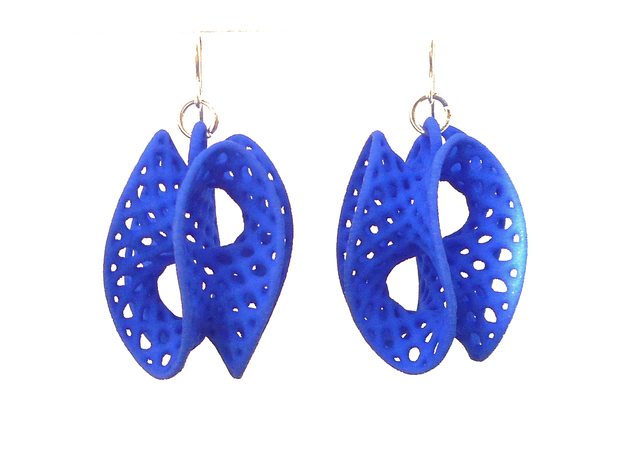 Batwing - Earrings in Nylon in Blue Processed Versatile Plastic