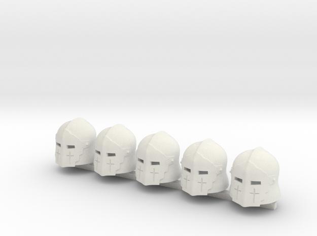 5 x Medieval Knight T1 in White Premium Versatile Plastic