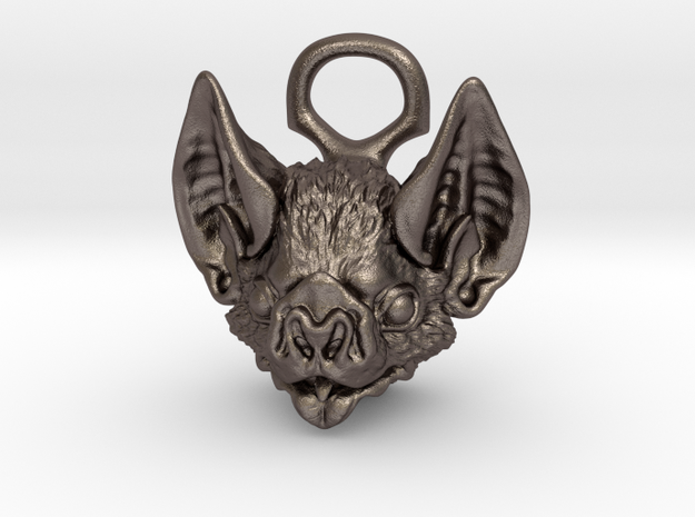 Bat Pendant in Polished Bronzed-Silver Steel: Medium
