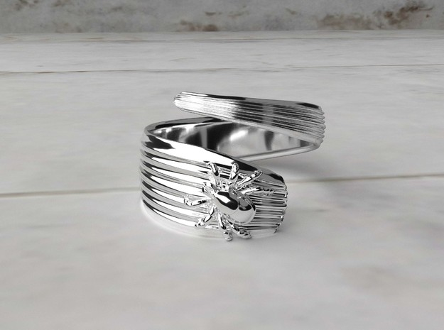 Tick Ring - Science Jewelry in Polished Silver: 12 / 66.5