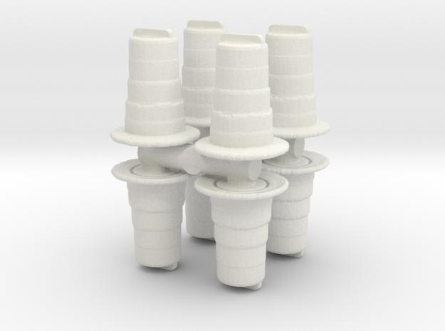 Traffic Drum (x8) 1/76 in White Natural Versatile Plastic
