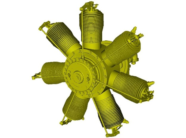 1/18 scale Gnome 7 Omega rotary engine x 1 in Smooth Fine Detail Plastic