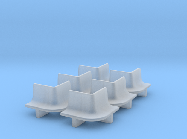 6pcs: N Scale Bench - Outer Radius in Smooth Fine Detail Plastic