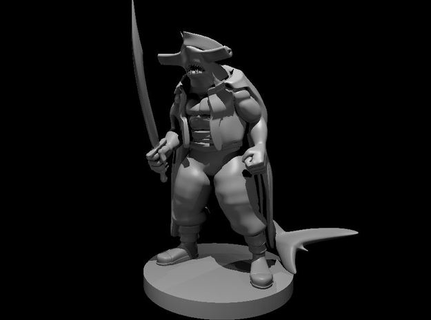 Hammerhead Pirate with Scimitar in Smooth Fine Detail Plastic