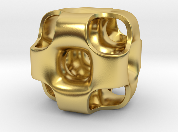 Ported Cube Pendant_01 in Polished Brass