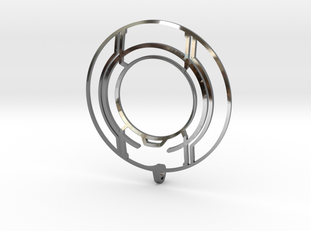 TRON: Legacy Identity Disk - Negative Space in Fine Detail Polished Silver