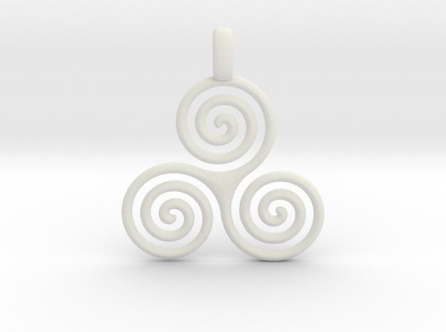 TRIPLE SPIRAL Minimal Symbol Jewelry Pendant  in White Natural Versatile Plastic