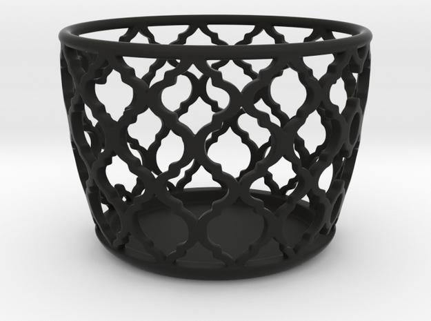 Tealight holder in Black Natural Versatile Plastic