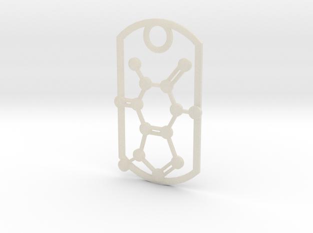 Dog tag - caffeine molecule 3d printed