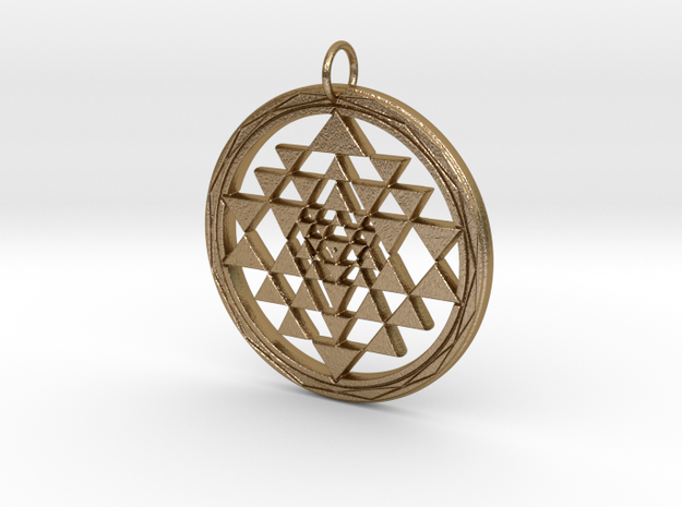 Fancy Sri Yantra Pendant Small in Polished Gold Steel: Small