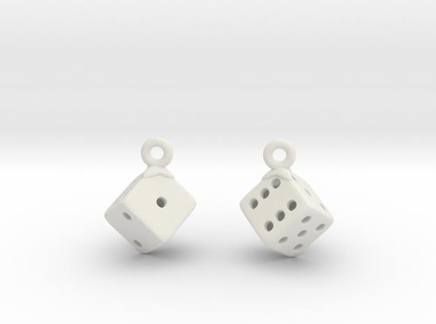 D6 Earrings in White Natural Versatile Plastic