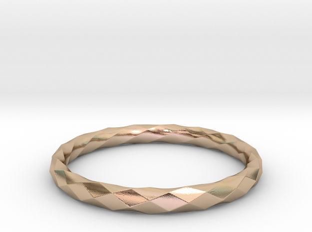 Mobius Diamond Check Ring in 14k Rose Gold Plated Brass: 8 / 56.75