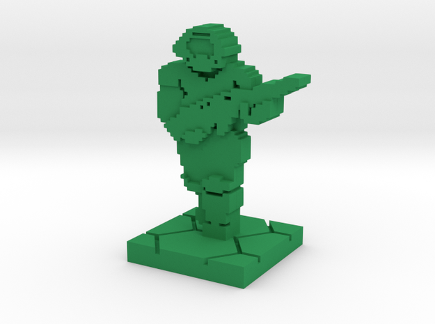 PixFig: Doom - Space Marine 4'' in Green Processed Versatile Plastic