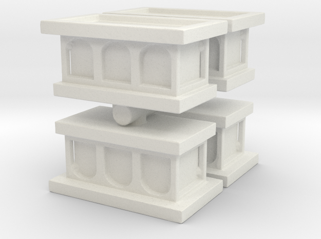 Church Altar (x4) 1/144 in White Natural Versatile Plastic