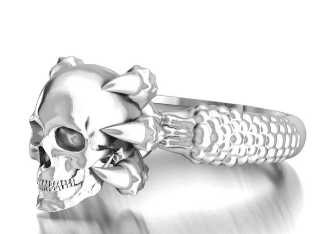 Monster Claw and Scull ring in Polished Silver