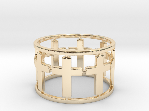15 Cross Open Ring Size 7.5 in 14K Yellow Gold