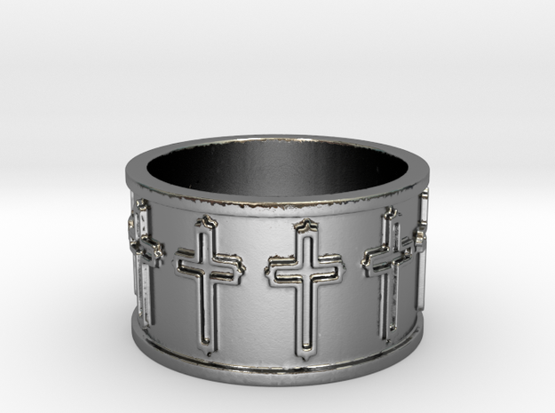 14 Cross Ring Solid V1 Ring Size 7.75 in Polished Silver